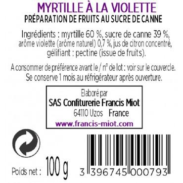 CONFITURE MYRTILLE A LA VIOLETTE AU SUCRE DE CANNE