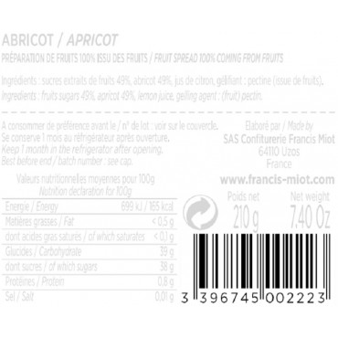 CONFITURE D'ABRICOT 100 % ISSU DES FRUITS