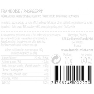 CONFITURE DE FRAMBOISE 100 % ISSU DES FRUITS