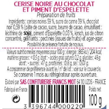 CONF. DE CERISE NOIRE CHOCOLAT PIMENT D'ESPELETTE