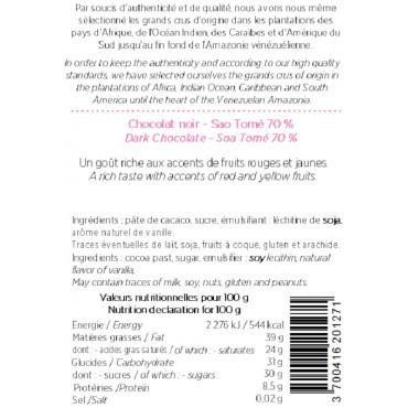 CHOCOLAT NOIR DE SAO TOME (70% DE CACAO)