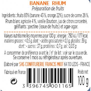 CONFITURE DE BANANE RHUM AU SUCRE DE CANNE