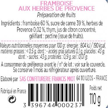 CONFITURE DE FRAMBOISE AUX HERBES DE PROVENCE